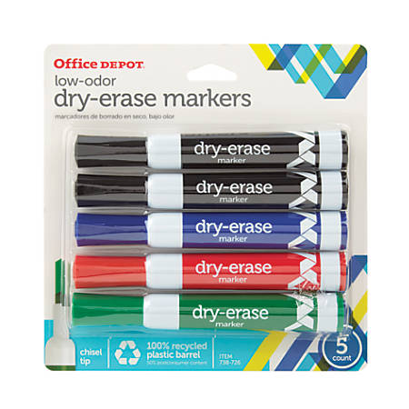 Office Depot® Brand 100% Recycled Low-Odor Dry-Erase Markers, Chisel Point, Assorted, Pack Of 5