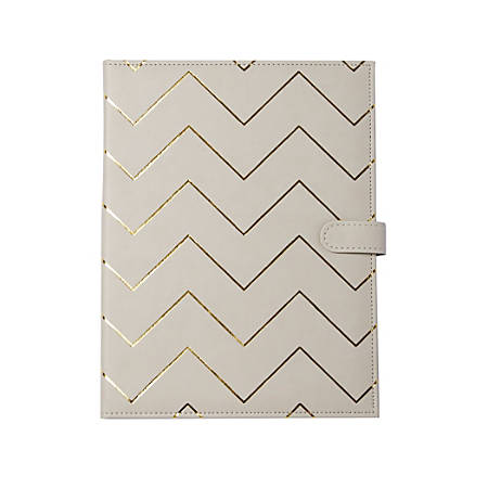 "Markings by C.R. Gibson® Chevron Leatherette Padfolio, 12 3/8"" x 9 1/2"", Beige/Gold"