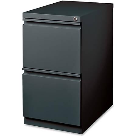 "Lorell® 19 7/8""D Mobile Letter-Size Pedestal File Cabinet, File/File, Charcoal"