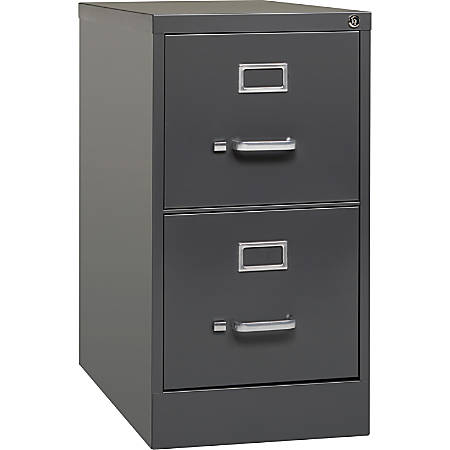 Lorell® Fortress Series 26 1/2''D 2-Drawer Letter-Size Steel Vertical File Cabinet, Charcoal