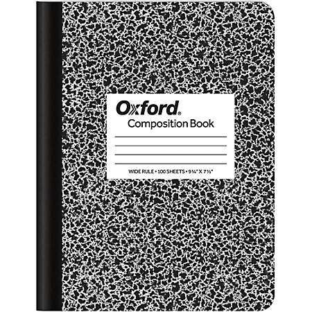 """TOPS Composition Book, 7 1/2"""" x 9 3/4"""", Wide-Ruled, 100 Sheets, Black/White Marble"""