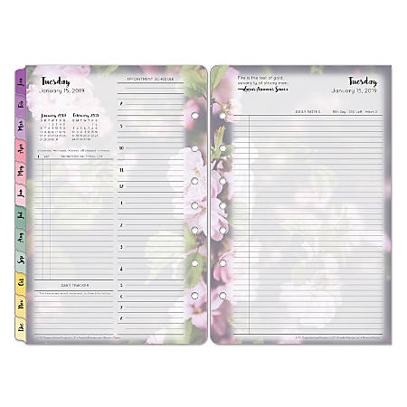 FranklinCovey® Brown Trout Organizer Refill, Classic Size, Blooms, January to December 2019