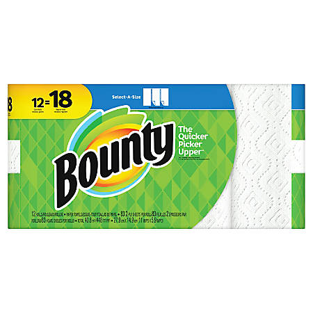 """Bounty Select-A-Size 2-Ply Paper Towels, 11"""" x 5-15/16"""", White, Pack Of 12 Giant Rolls"""