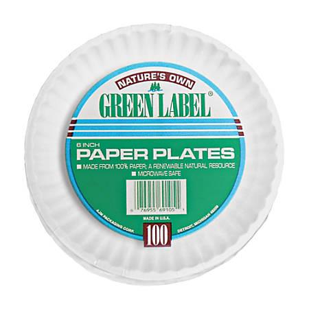 """AJM Plates, 9"""", White, 100 Per Pack, 12 Packs Per Carton"""
