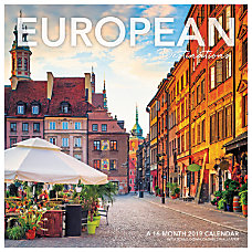 Landmark European Destinations Wall Calendar 12