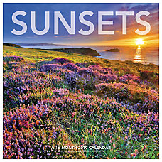 Landmark Sunsets Monthly Wall Calendar 12