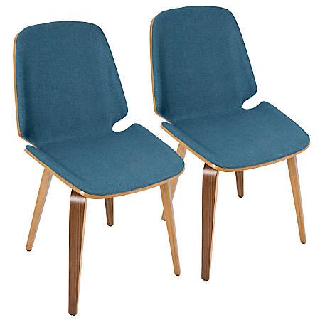 LumiSource Serena Mid-Century Modern Dining Chairs, Blue/Walnut, Set Of 2