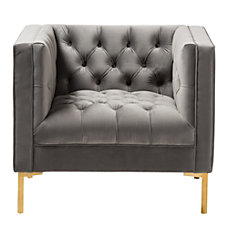 Baxton Studio Lola Velvet Lounge Chair