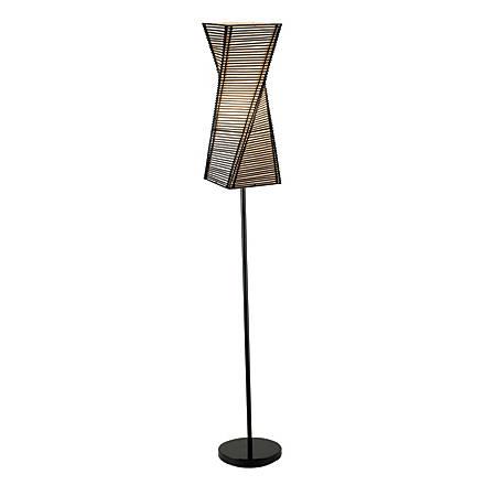 """Adesso® Stix Floor Lamp, 68"""", Black/Beige"""