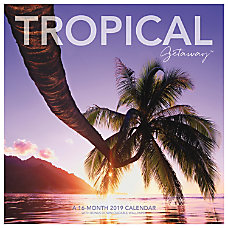 Landmark Tropical Getaway Monthly Wall Calendar