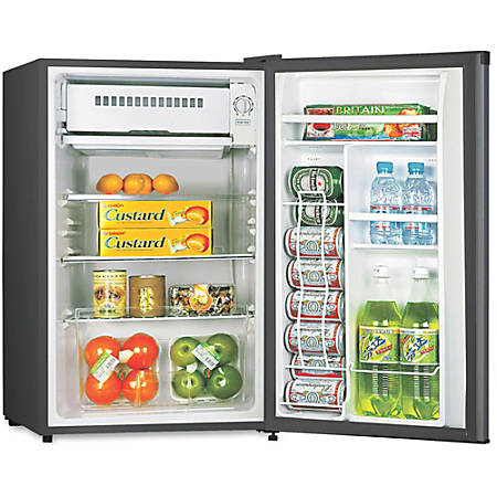 Lorell 3.3 cu.ft. Compact Refrigerator - 3.30 ft³ - Manual Defrost - Reversible - 3.30 ft³ Net Refrigerator Capacity - Black - Steel, Fiberglass, Plastic