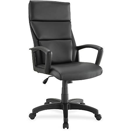 Lorell® European High-Back Bonded Leather Executive Chair, Black