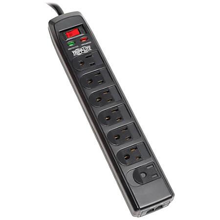 Tripp Lite Surge Protector Power Strip 120V 7 Outlet RJ11 6' Cord 1440 Joule - 7 x NEMA 5-15R - 1800 VA - 1440 J - 120 V AC Input - Cable Modem/DSL/Fax/Phone