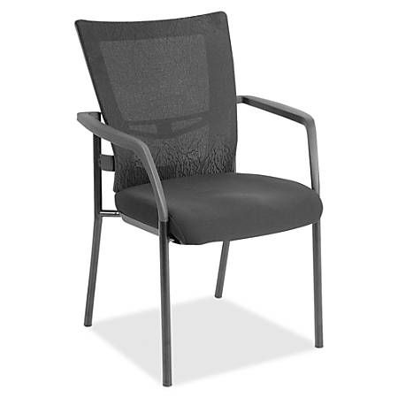 Lorell® Mesh/Fabric Mid-Back Guest Chair, Black