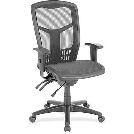 Lorell® Ergonomic Mesh High-Back Multifunction Chair, Black