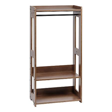 "IRIS Compact Wood Garment Rack, 47-1/4""H x 23-5/8""W x 12-5/8""D, Brown"