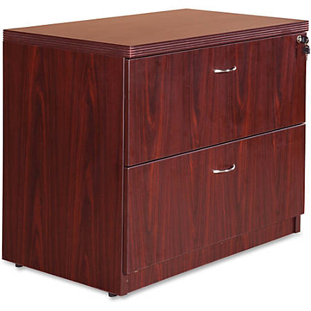 "Lorell® Chateau Series 36""W 2-Drawer Lateral File Cabinet, Mahogany"