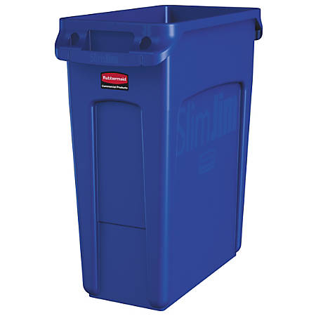 Rubbermaid® Slim Jim Rectangular Polyethylene Vented Waste Receptacle, 16 Gallons, Blue