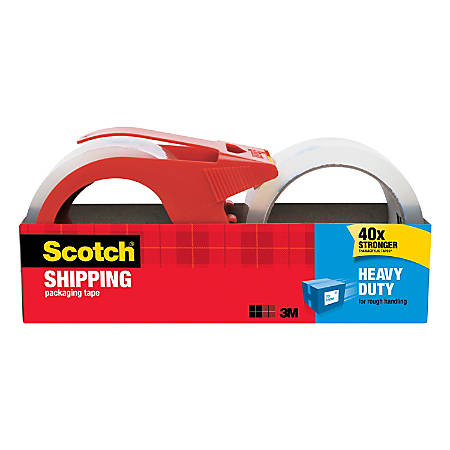 "Scotch® Heavy-Duty Shipping Packing Tape With Dispenser, 1.88"" x 38.2 Yd., Clear, Pack Of 2"
