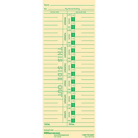"""Office Depot® Brand Time Cards, Weekly, Monday–Sunday Format, 1-Sided, 3 3/8"""" x 8 7/8"""", Manila, Pack Of 100"""