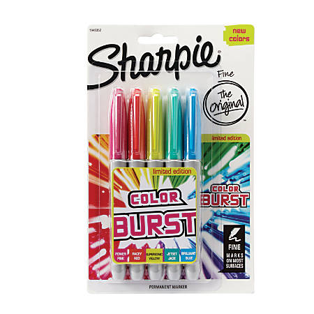 Sharpie® Color Burst Permanent Markers, Fine Point, Assorted Colors, Pack Of 5
