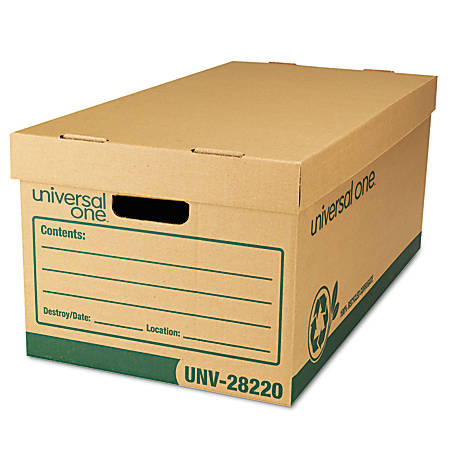 """Universal® Record Storage Boxes, Letter/Legal, 10""""H x 12""""W x 24""""D, 100% Recycled, Kraft, Pack Of 12"""