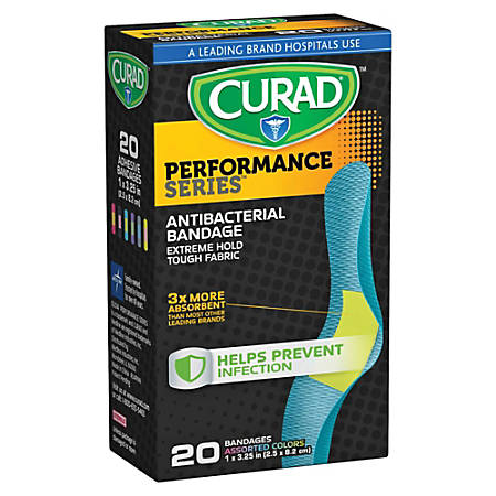 "CURAD® Antibacterial Adhesive Bandages, 1"" x 3 1/4"", Assorted Colors, Pack Of 20"