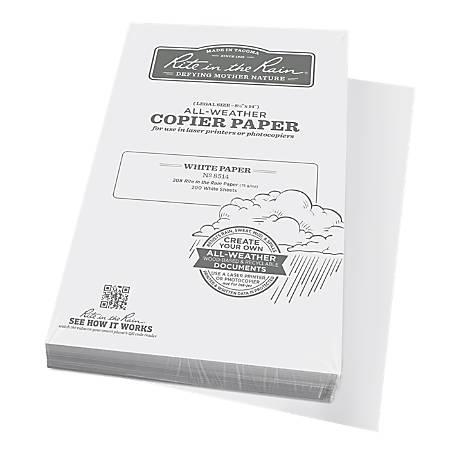 "Rite in the Rain® All-Weather Printer Paper, Legal Size (8 1/2"" x 14""), 85 (U.S.) Brightness, 20 Lb, 200 Sheets"