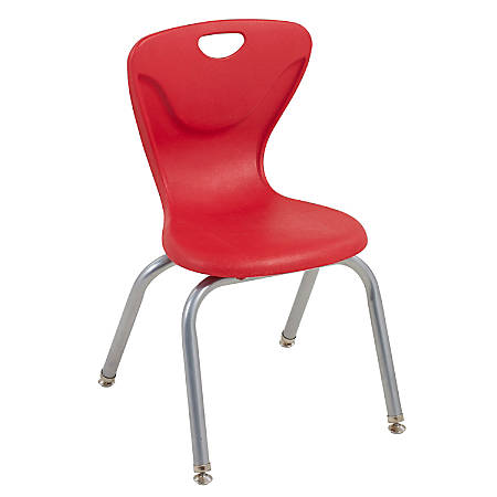 """ECR4Kids Contour Stacking Chairs, 25 13/16""""H, Red/Silver, Set Of 4"""