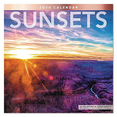 """Mead® Sunsets Monthly Wall Calendar, 12"""" x 12"""", January to December 2020, ODE343-10"""