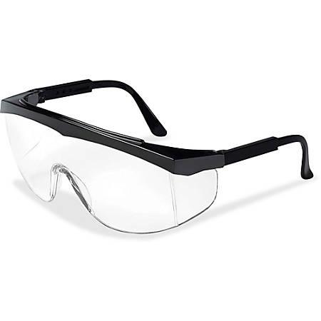 Crews Stratos Wraparound Design Glasses - Adjustable Temple, Comfortable, Lightweight, Scratch Resistant - Ultraviolet Protection - Nylon Frame, Polycarbonate Lens - Clear, Black, Black - 1 Each