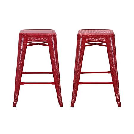 DHP Nova Metal Mesh Backless Counter Stool, Red