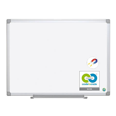 """MasterVision® Earth Gold Ultra Magnetic Dry-Erase Board, Steel, 72"""" x 48"""", 45% Recycled, White, Aluminum Frame"""