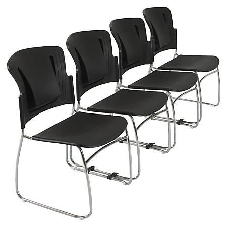 Balt® ReFlex Stacking Chair, Black, Set Of 4
