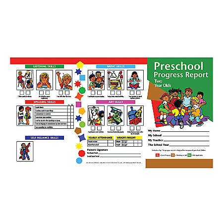 Hayes Preschool Progress Report Cards, Age 2, 10 Report Cards Per Pack, Set Of 6 Packs
