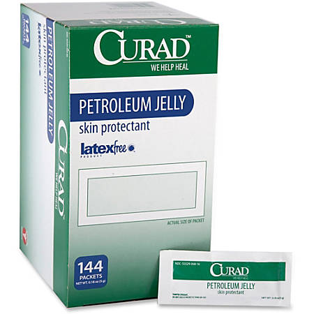 Curad Petroleum Jelly Ointment Packets - Ointment - 0.18 oz (5 g) - Tube - For Dry Skin - Moisturising, Latex-free - 144 / Box