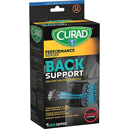 Curad Low Friction Pulley Back Support - Latex-free, Lightweight - Black