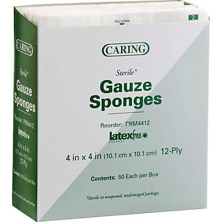 "Medline Sterile Gauze Sponges - 12 Ply - 4"" x 4"" - 1200/Carton - 50 Per Box - White - Cotton, Mesh, Woven"