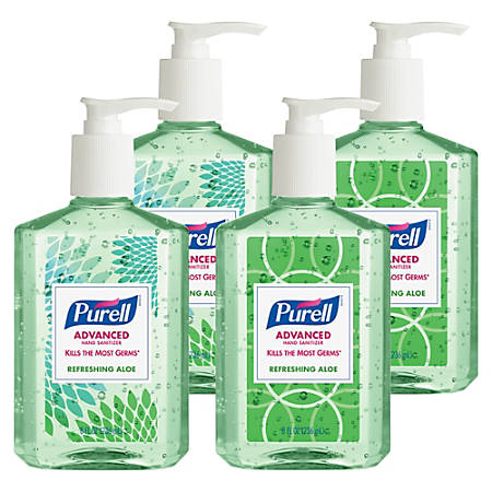 Purell® Advanced Design Series Hand Sanitizer With Aloe, 8 Oz, Pack Of 4 Bottles