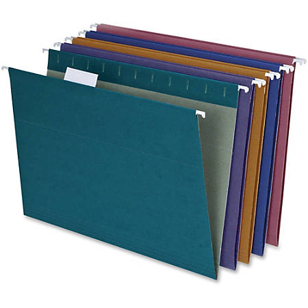 """Pendaflex® Reinforced Polylaminate Hanging File Folders, 3/4"""" Expansion, Letter Size, 1/5 Tab Cut, Assorted Colors, Box Of 20 Folders"""