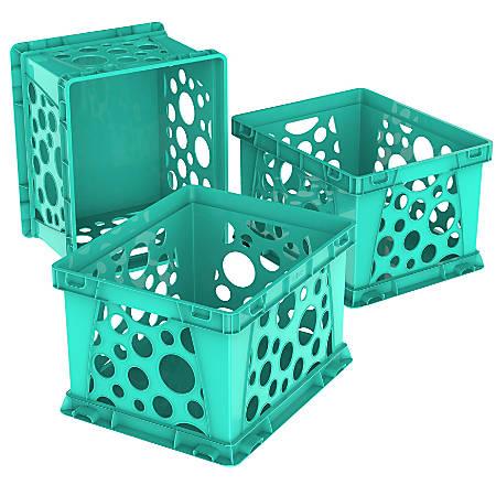 "Storex Mini Crates, 9"" x 7-3/4"" x 6"", School Teal, Pack Of 3 Crates"