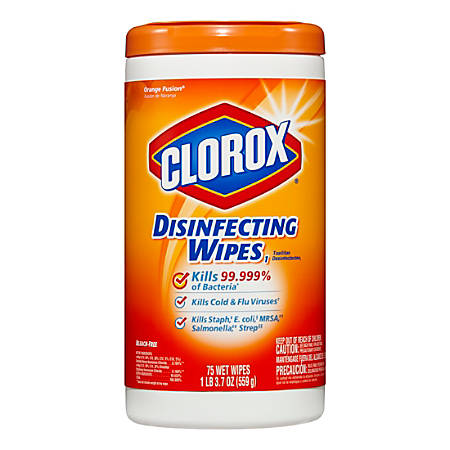 """Clorox® Disinfecting Wipes, Orange Fusion Scent, 7"""" x 8"""", 75 Wipes Per Canister, Carton Of 6 Canisters"""