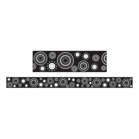"""Teacher Created Resources Border Trim, 3"""" x 35"""", Black And White Crazy Circles, Pre-K - College, Pack Of 12"""