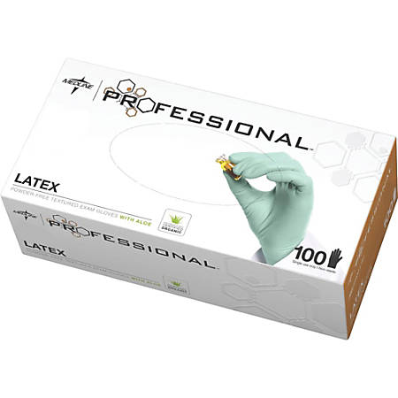 Medline Professional Latex Exam Gloves - X-Small Size - Latex - Green - Textured, Stretchable, Beaded Cuff, Powder-free, Non-sterile - For Laboratory Application - 100 / Box