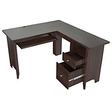 Inval Contemporary L Shaped Workcenter Espresso