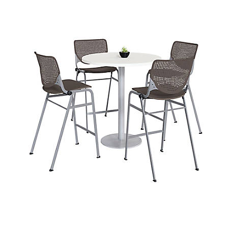 """KFI Studios KOOL Round Pedestal Table With 4 Stacking Chairs, 41""""H x 36""""D, Designer White/Brownstone"""