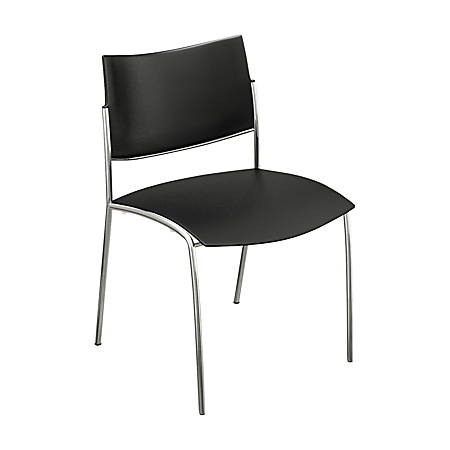 Mayline® Escalate Series Stackable Bistro Chair, Black/Silver, Set Of 4