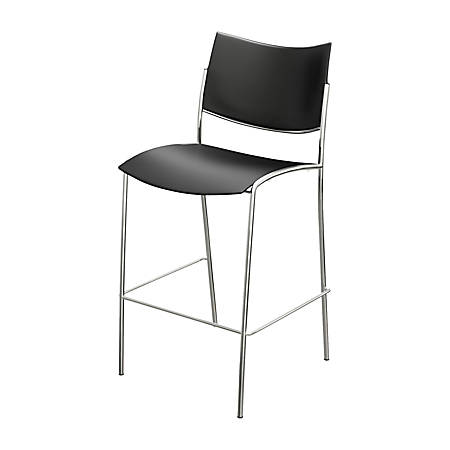 Mayline® Escalate Series Stackable Stool, Black/Silver, Set Of 2