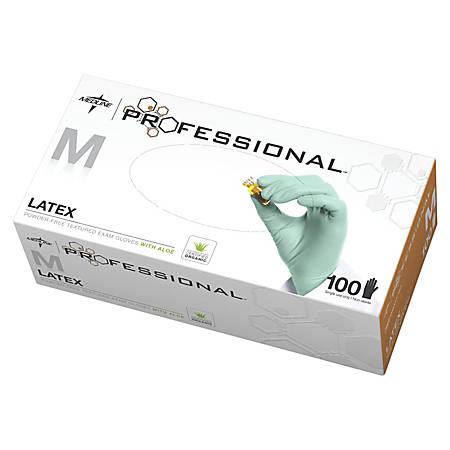 Medline Professional Aloe-Coated Latex Disposable Exam Gloves, Medium, Green