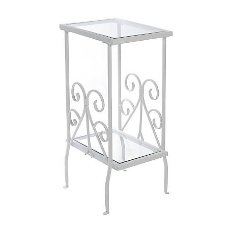 Monarch Specialties 2-Tier Metal Accent Table, Rectangle, Clear/White